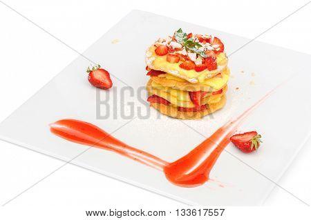 crepe pancake cake with custard and strawberry