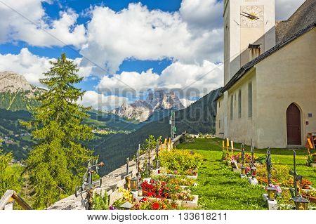 Cemetery in In Colle Santa Lucia, Dolomites, Italian Alps
