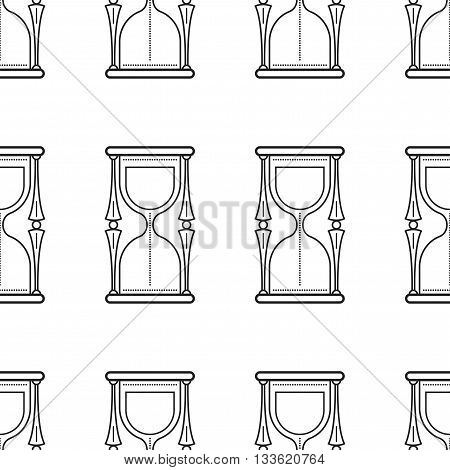 Hourglass. Seamless pattern with clock. Flat icon. Vector object