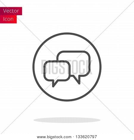Chat Thin Line Icon Or Button. Vector illustration