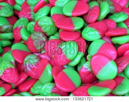 Candies the form a raspberry on bazaar in Tel Aviv Israel