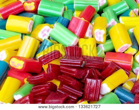 Candy is very bright colors on bazaar in Tel Aviv Israel