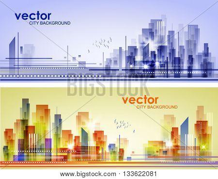 Abstract City Landscape . Urban Header set