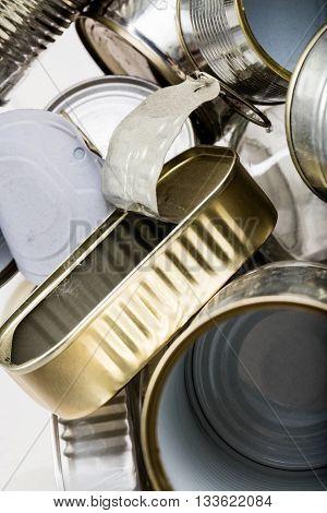 Sardine Aluminium Used Box Among Trash