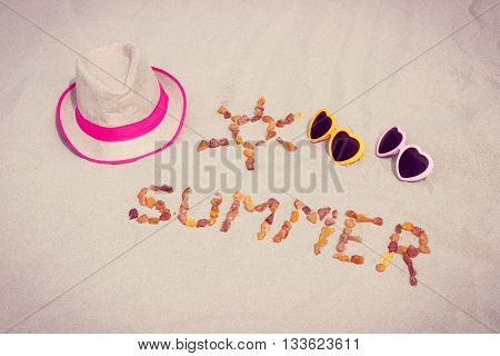 Shape Of Sun And Word Summer, Sunglasses And Straw Hat On Sand At Beach, Sun Protection, Summer Time