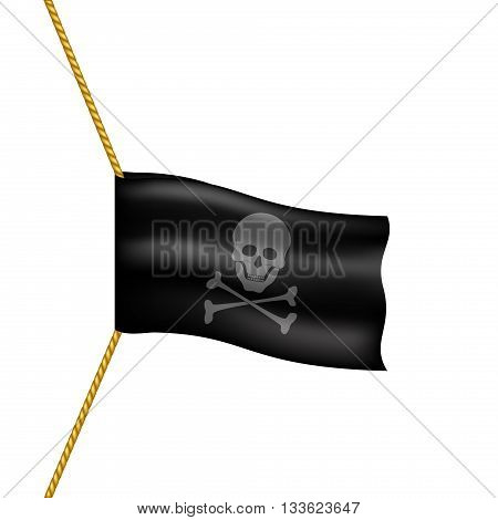 Pirate flag with skull symbol hanging on rope