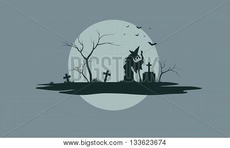 Halloween scenery with tombstones in tthe tomb