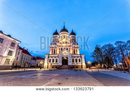 Alexander Nevsky Russian Orthodox Cathedral in  in the Tallinn Old Town on the hill of Toompea, Estonia