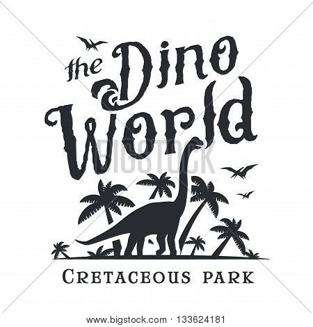 Dino world logo template. Dinosaur park logotype. Diplodoc t-shirt vector design. Jurassic period retro illustration. Lost world insignia concept. Adventure badge.