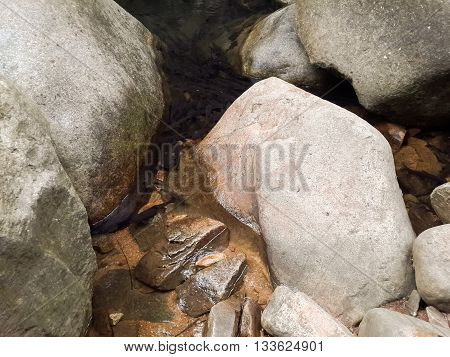 stone and brook in waterfall in nature garden