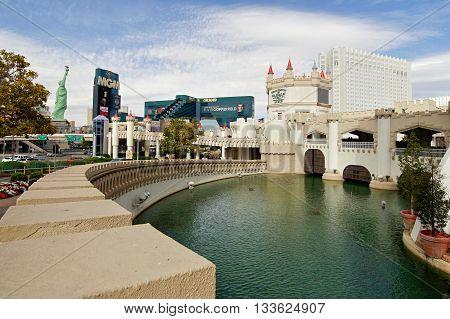 Las Vegas - Lagoon at the Excalibur Hotel. Nevada, USA. May 8, 2016