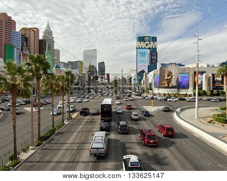 Statue of Liberty, New York and the MGM casino. Las Vegas, Nevada, USA. May 8, 2016