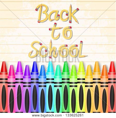 Back to School Typography Made of Pencil with Different Colored Crayons on Textured Paper Background