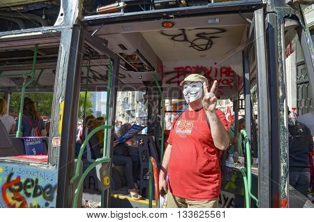 Istanbul Turkey - June 9 2013: in protests in Taksim suffered damage municipality buses. A wave of demonstrations and civil unrest in Turkey began on 28 May 2013 initially to contest the urban development plan for Istanbul's Taksim Gezi Park.