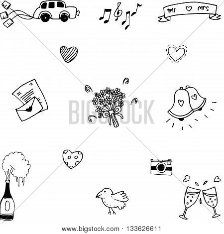 Element party for wedding doodle vector art illustration
