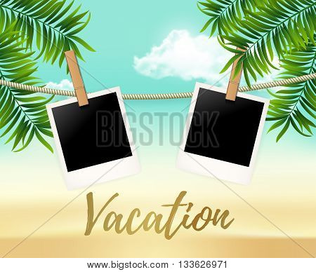 Summer two photo frames on the rope with summer sea and beach vacation - vector illustration. Blank photos on the clothespin with palm trees. Summer Hot background for your photo