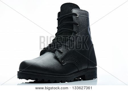 Tall Black Leather Men Boot