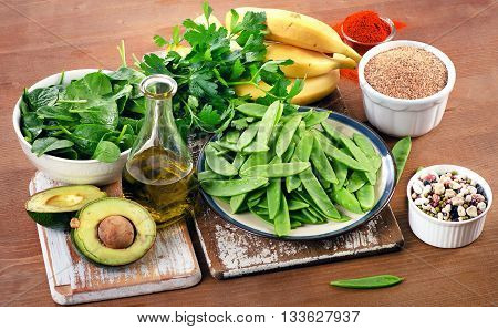 Foods Highest In Vitamin K On A Wooden Board. Healthy Eating.