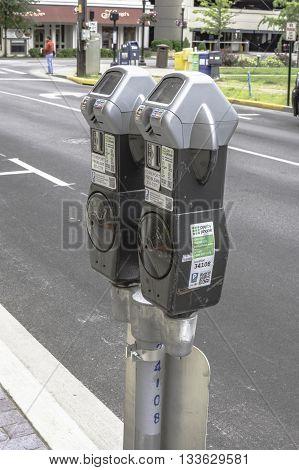Lexington Kentucky May 26 2016: modern parking meters that take credit cards.