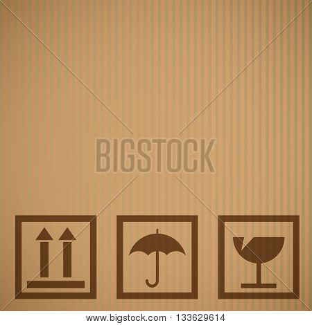 Cardboard texture background with a fragile symbol