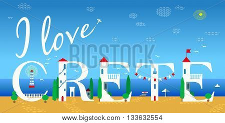 Inscription I love Crete. Cute white houses on the coast. Plane in the sky. Summer beach. Hotels at the coast line. Illustration