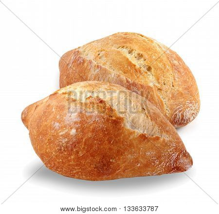 Two fresh French bread on a white background. A loaf of bread. Fresh pastries white bread flour products. Food.