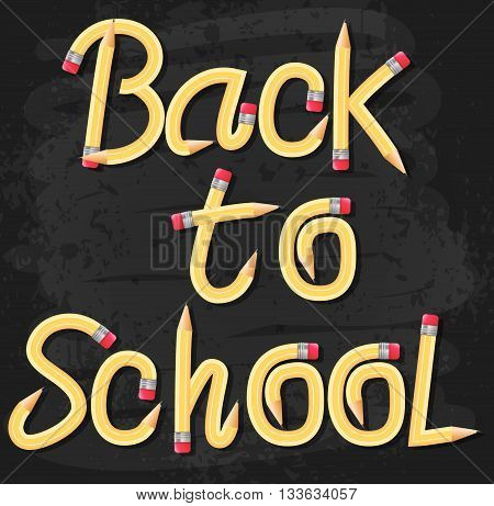 Welcome Back to School Text Written on Black Board Textured Background with Books and School Supplies