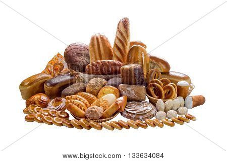 Composition with bread and rolls in wicker basket on white background