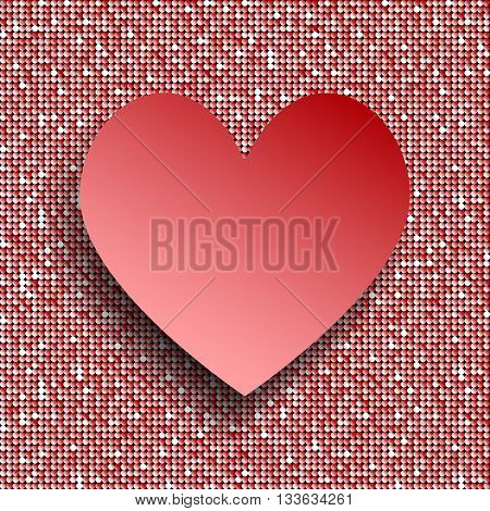 Vector abstract background. Red heart button on red sequin background.