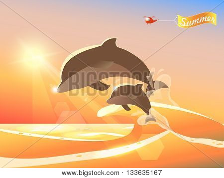 Dolphins jumping from the ocean. Summer sunset background. Helicopter with Summer banner greeting. Cartoon colorful vector illustration. Sunny summer day seascape. Dolphins play in waves.