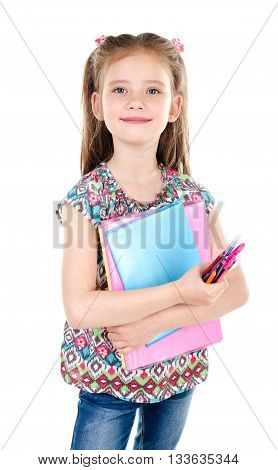 Portrait of smiling schoolgirl with books isolated on a white background