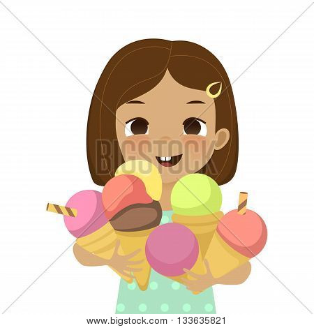 Cute girl holds ice cream cones. Fun happy kid with a lot of ice cream. Illustration of joyful child with ice cream in cartoon style isolated on white background.