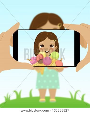 Smartphone photo of cute girl with ice cream cones. Fun happy kid holds a lot of ice cream. Cartoon stylized vector illustration. Portrait photo on smartphone of joyful child with ice cream.