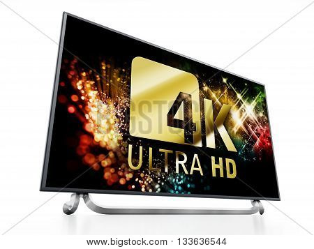 4K ULTRA HD television isolated on white background. 3D illustration