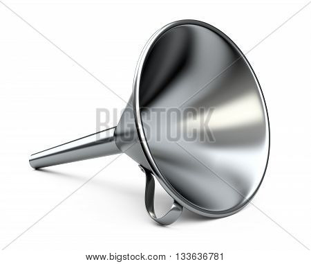Steel funnel. 3D illustration isolated on white background.