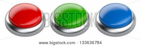 Blank red green and blue glossy button set with space for copy-shot. 3d image isolated on a white background