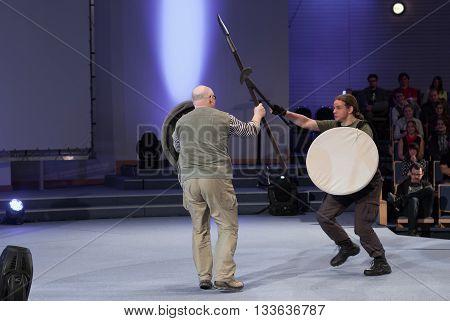 Robert Waschka During Talk About Soldier Versus Warrior At Anime
