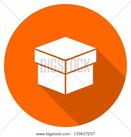 box vector icon, circle flat design internet button, web and mobile app illustration