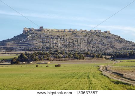 View of Castle of Gormaz in Soria Spain. Burgo de Osma