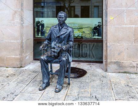Soria Spain - March 25 2016: Sculpture of poet Antonio Machado in Soria sculptor Ricardo Gonz