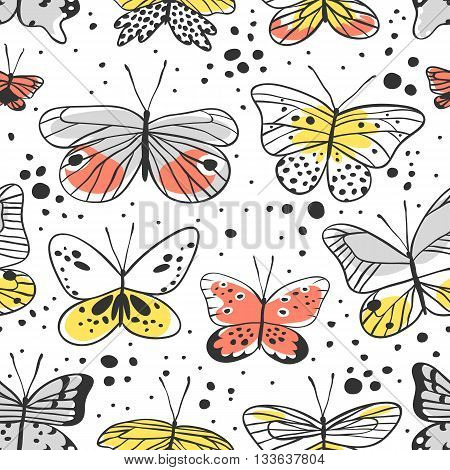 Seamless pattern with butterfly. Hand drawn vector illustration. Decorative elements for design. Black contour drawing. Creative ink art work