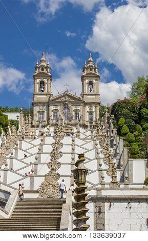 BRAGA, PORTUGAL - APRIL 25, 2016: Stairs leading to Bom Jesus do Monte in Braga, Portugal