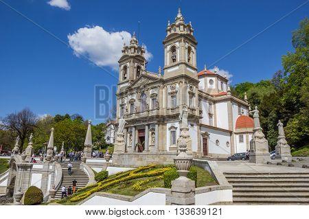 BRAGA, PORTUGAL - APRIL 25, 2016: Bom jesus do Monte church in Braga, Portugal