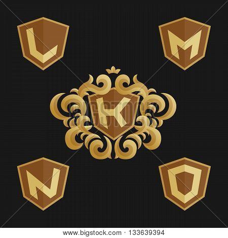 Decorative Ornate monogram emblem template. Stylish set of monograms. Golden shield with crown and letters from K to O.