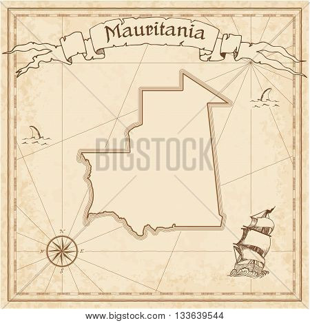 Mauritania Old Treasure Map. Sepia Engraved Template Of Pirate Map. Stylized Pirate Map On Vintage P