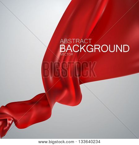 Red silk fabric. Vector illustration with red satin or silk fabric. Vector silk textile. Grand business opening concept
