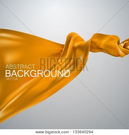 Orange silk fabric. Vector illustration with orange satin or silk fabric. Vector silk textile. Grand business opening concept
