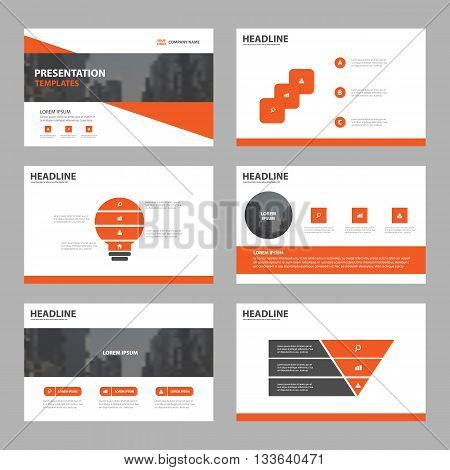Orange Abstract presentation templates Infographic elements template flat design set for brochure flyer leaflet marketing advertising banner template