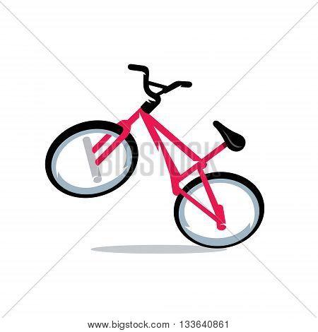 Stylish pink sports bike Isolated on a White Background