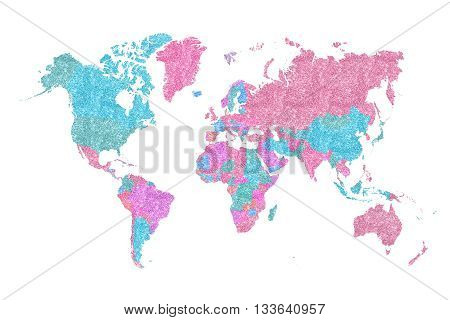 World Map in pink and blue glitter and sparkles